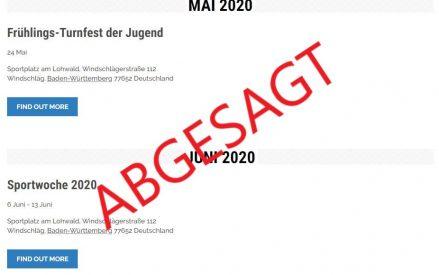 Veranstaltungsabsagen: Frühlings-Turnfest + Sportwoche