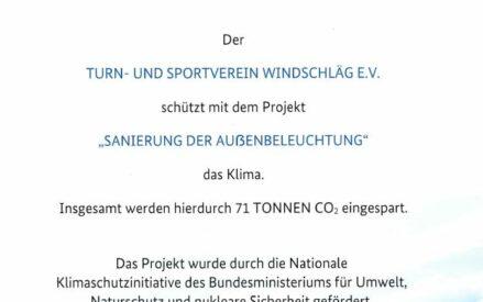 Projekt LED Flutlicht am Lohwald -Zertifikat-