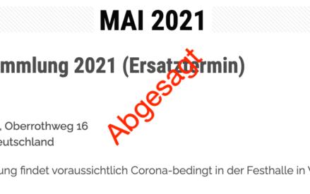 Generalversammlung & Sportwoche 2021 abgesagt